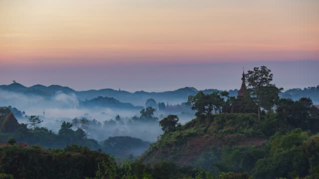 4K Timelapse of Pagoda in Mrauk-U 4K Timelapse of Pagoda in Mrauk-U, Myanmar. kachin state stock videos & royalty-free footage