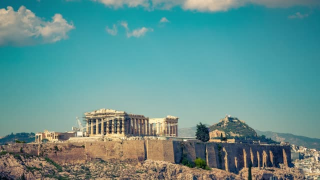 パルテノンのタイムラプス、アテネのアクロポリス、ギリシャ - ギリシャ点の映像素材/bロール