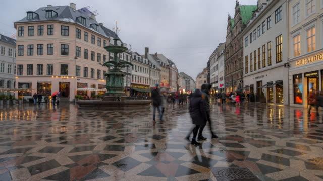 Time-lapse of Pedestrian crowded Stroget shopping street in Copenhagen Denmark video