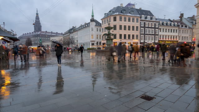 Time-lapse of Pedestrian crowded Stroget shopping street in Copenhagen Denmark video