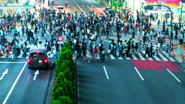 Time-lapse of people and vehicles crossing the famous Shibuya intersection in Tokyo video