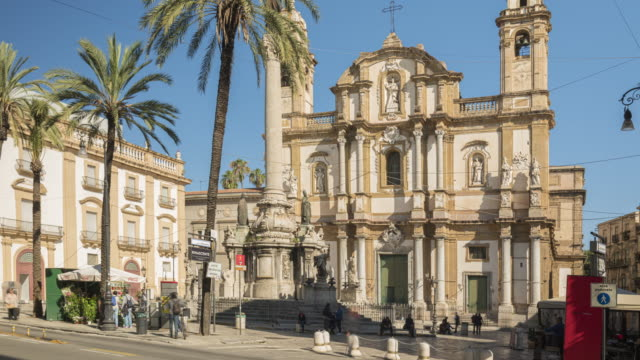 timelapse of people tourist visiting the church of saint dominic church in palermo, sicily, - sicily filmów i materiałów b-roll