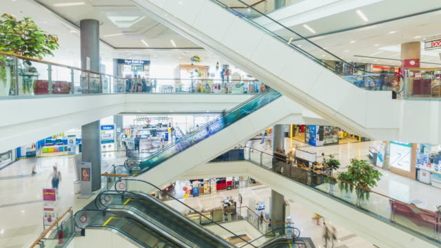 timelapse of people use escalator and shopping in mall timelapse of people use escalator and shopping in mall department store stock videos & royalty-free footage