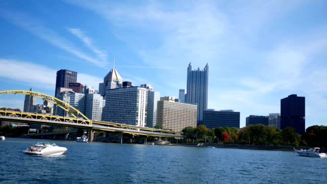 timelapse of pittsburgh as seen from north shore on sunny autumn day - joseph kelly stock videos and b-roll footage