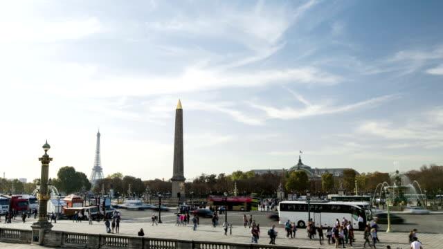 paris, france - november 15, 2014: timelapse of place concorde in paris, france - penis stok videoları ve detay görüntü çekimi