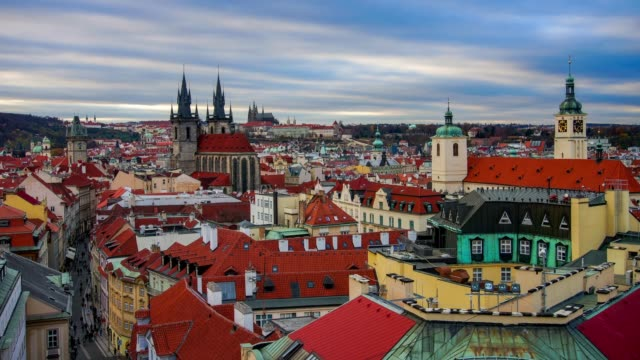 timelapse of prague's skyline, prague, czech republic. - gothic architecture stock videos & royalty-free footage