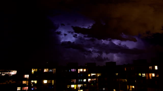 Timelapse of rain and thunder video