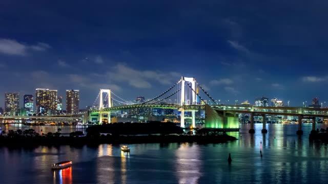 Timelapse of rainbow bridge at night, Tokyo, Japan video