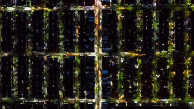 Timelapse of Residential district or village in night time
