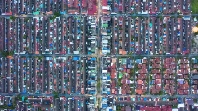 Timelapse of Residential district or village in top view