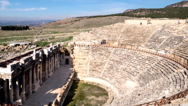 Timelapse of ruins Antique Theater in ancient Greek city Hierapolis, Pamukkale, Turkey video