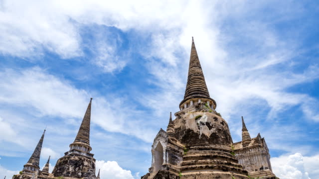Time-lapse of Ruins of pagoda of Wat Phra Si Sanphet temple in Ayutthaya historical park, Thailand video
