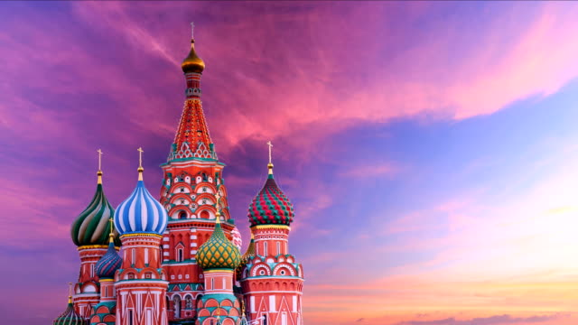 timelapse of saint basil's cathedral - church architecture stock videos & royalty-free footage