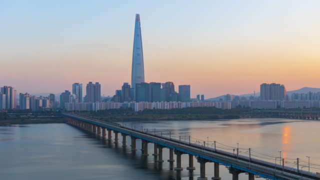 Timelapse of Seoul City and Lotte Tower,South Korea. video