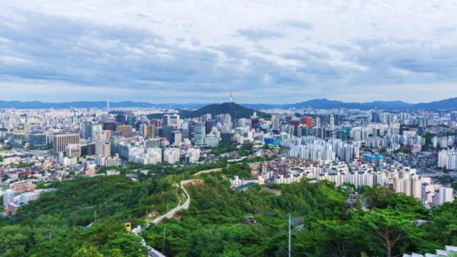 Timelapse of Seoul City Skyline, South Korea Timelapse of Seoul City Skyline, South Korea gyeongbokgung stock videos & royalty-free footage