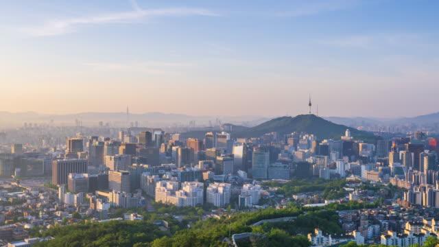Timelapse of Seoul City Skyline,South Korea. Timelapse of Seoul City Skyline,South Korea. namsan seoul stock videos & royalty-free footage