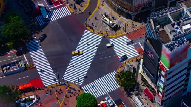 vídeos de stock, filmes e b-roll de um timelapse de shibuya cruzando em tóquio tiro longo de ângulo alto - alto descrição geral