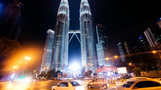 Time-lapse of skyscraper petronas towers in Kuala Lumpur video