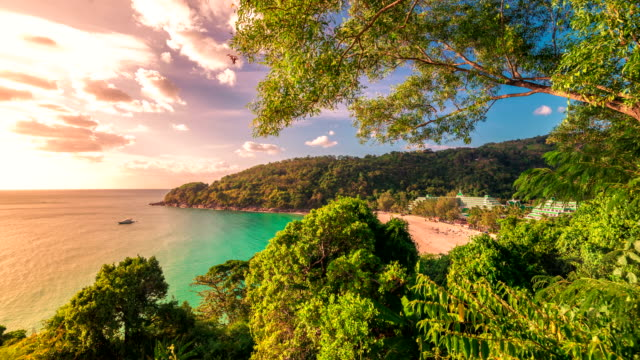 Timelapse of small beautiful tropical beach in Phuket Island, Thailand. January, 2016. video