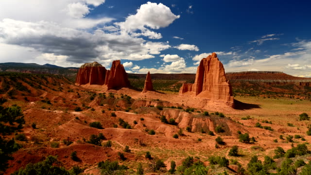 Timelapse of Spectacular sandstone formations along cathedral valley loop tour