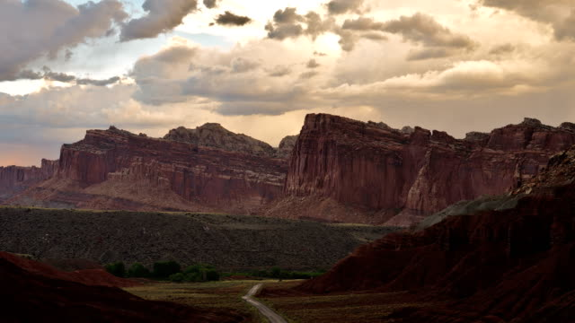 timelapse of spectacular sandstone formations, capitol reef national park, utah - utah video stock e b–roll