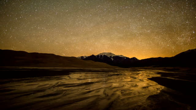 Time-lapse of spinning starry night sky over spring Medano Creek,  snowcapped peaks, and sand dunes in Great Sand Dunes National Park & Preserve, Colorado, USA.