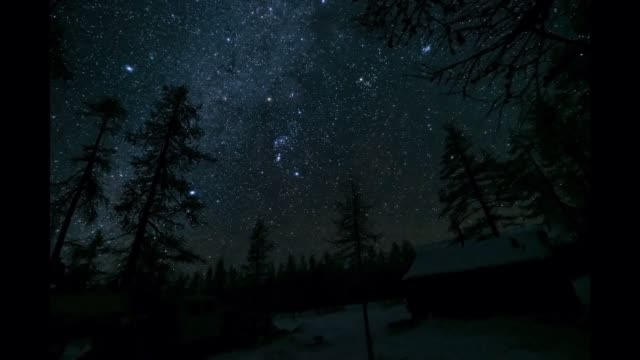 timelapse of stars over house - astronomia video stock e b–roll