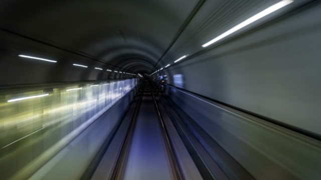 Timelapse  of subway train journey.Automatic train moving to tunnel,Seoul,South Korea video