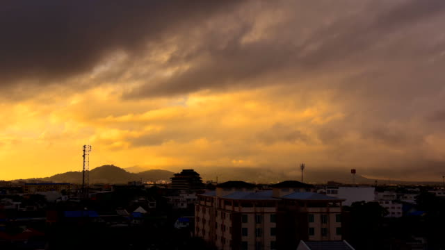 Timelapse of sunrise and moving clouds over Songkhla city and lake Thailand video