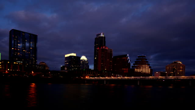 Timelapse of the Austin skyline at night video