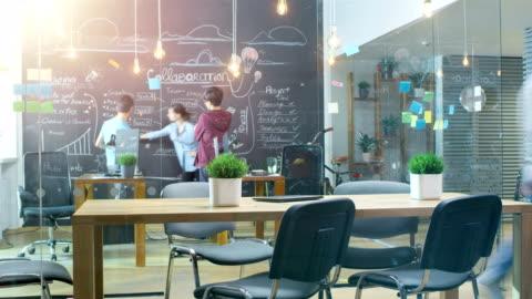 time-lapse dell'affollato ufficio creativo dove giovani alla moda lavorano su personal computer, hanno riunioni e discussioni. - abbigliamento casual video stock e b–roll