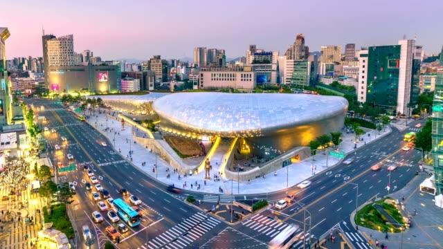 vídeos de stock e filmes b-roll de 4k timelapse of the city seoul at night, south korea, - seul