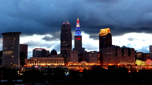Timelapse of the Cleveland skyline night to day video