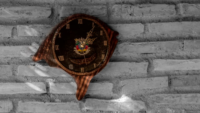 Timelapse of the Clock with format and Coat of Arms of the State of Rio Grande do Sul Farroupilha Week celebrations are beginning. wall clock stock videos & royalty-free footage