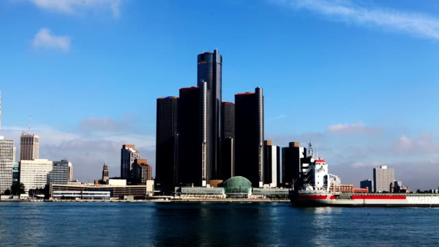 Timelapse of the Detroit skyline across the river video