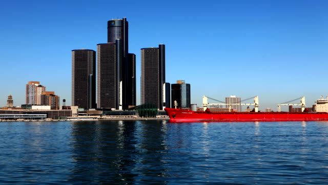 Timelapse of the Detroit skyline with freighter crossing video