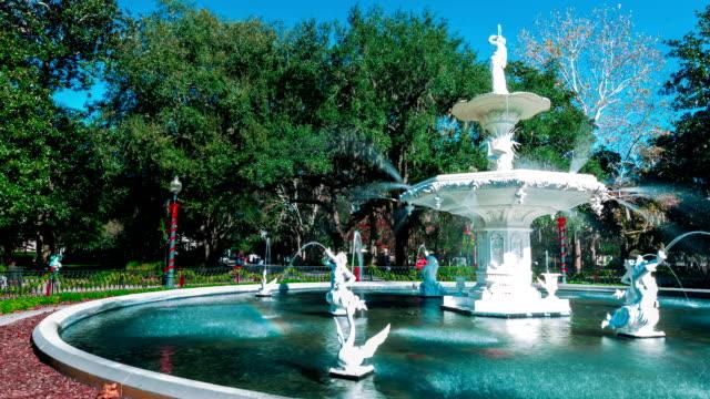 Timelapse of the Forsyth Park fountain in Savannah, GA video