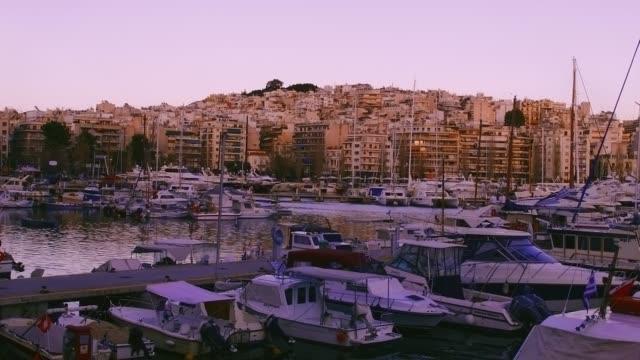 timelapse of the marina of pasalimani in piraeus video