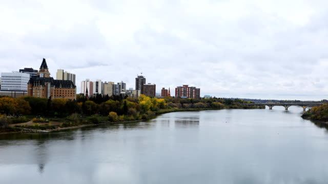 Timelapse of the Saskatoon cityscape in fall video