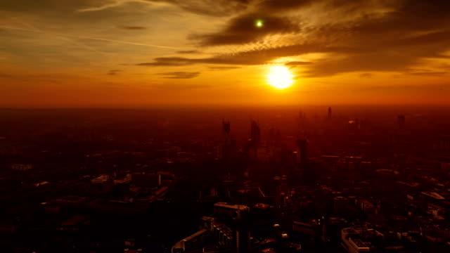 Timelapse of the West London skyline from golden hour to early evening taken from the tallest building in Europe video