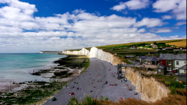Timelapse of the White chalk Cliffs at famous Seven Sisters in Sussex, UK during summer video