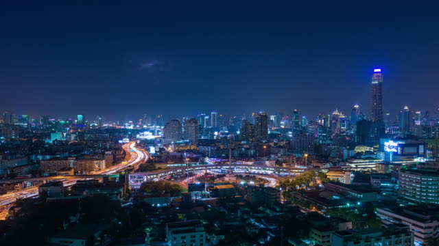 Timelapse Der Donner Sturm in der Innenstadt von Bangkok – Video