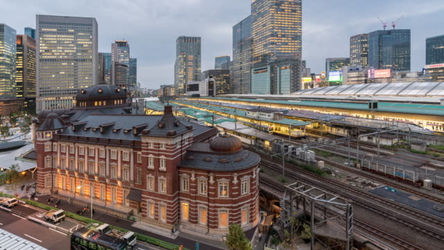 Time-lapse of Tokyo railway train station sunset video