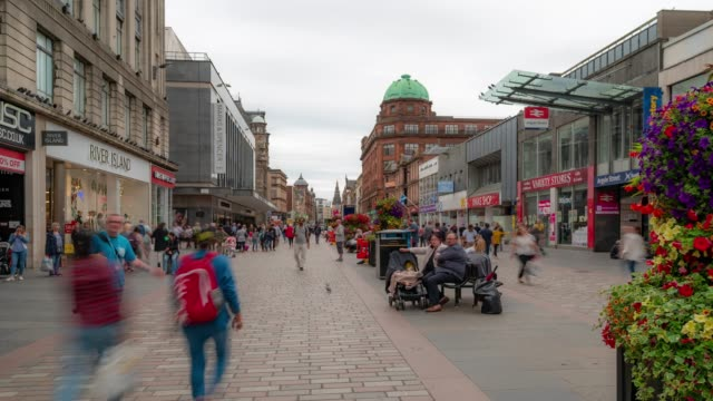 Time-lapse of Tourist Pedestian crowded Buchanan shopping street in Glasgow Scotland UK