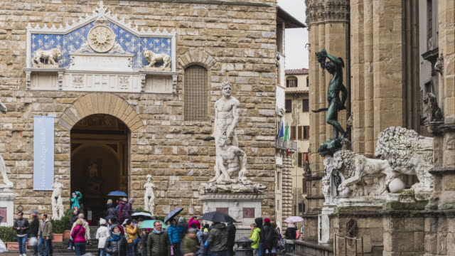 timelapse of tourist traveller walking and sigh seeing at Basilica of Santa Croce on Piazza di Santa Croce square, Florence, Tuscany, Italy, Europe