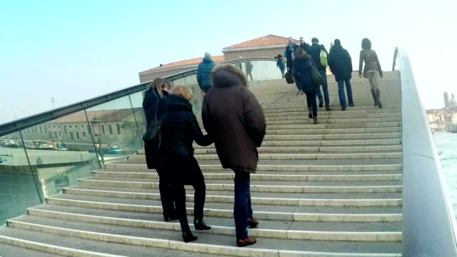 Timelapse of tourists at Constitution bridge in Venice, Italy, Panning shot video