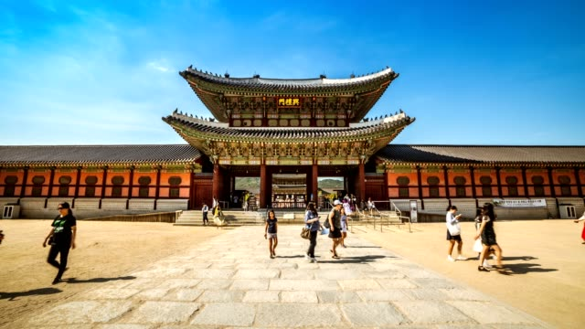 Timelapse of tourists swarming through Gyeongbokgung Palace , South Korea video