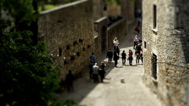 Time-lapse of tourists walking in Girona, Spain video