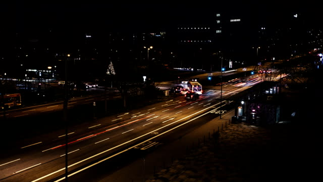 Timelapse of traffic at night video