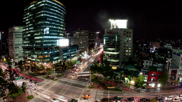 Timelapse of traffic on night busy Seoul streets, South Korea video